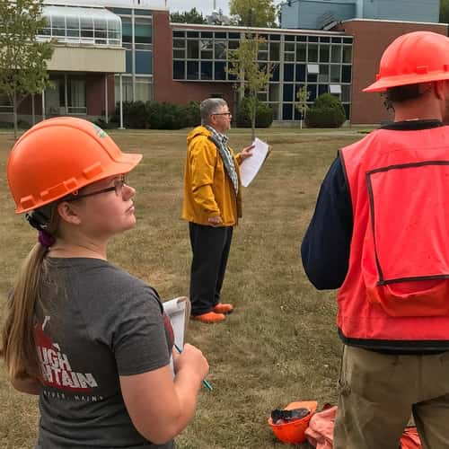 applied forest management students during a lesson on the campus quad
