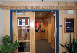 entrance to the Acadian Archives/Archives acadiennes