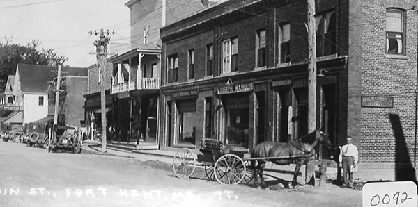 historical photo of Main Street Fort Kent from the Roland Page Collection