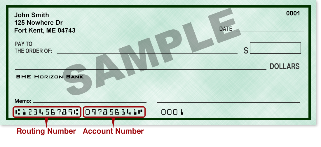 sample image of a check illustrating the location of the account and routing numbers