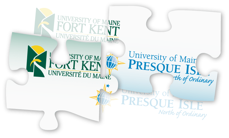 puzzle pieces with parts of the UMFK and UMPI logos signifying the partnership between the two campuses