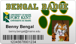 image of a UMFK student photo id card, also called a Bengal Badge