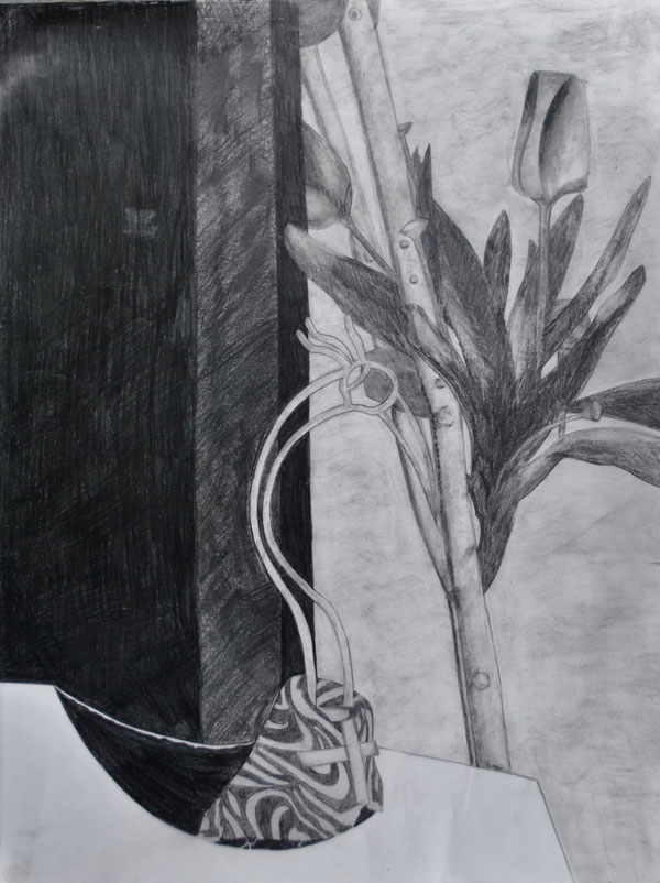 UMFK art student Erika Gutierrez, Negative Shape, graphite on paper