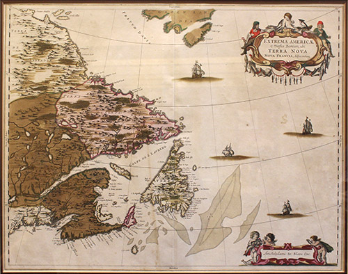 Fine hand colored example of this important early map of Eastern Canada, etc. from 1662 Latin edition of Blaeu's Atlas Maior