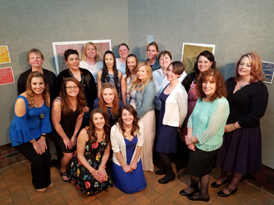 UMA nurse pinning ceremony group photo - names of students provided in the caption