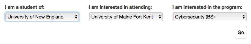 screenshot of the transfer guides tool illustrating the selection of a student currently attending University of New England wishing to transfer to University of Maine at Fort Kent with an interest in the Cybersecurity program