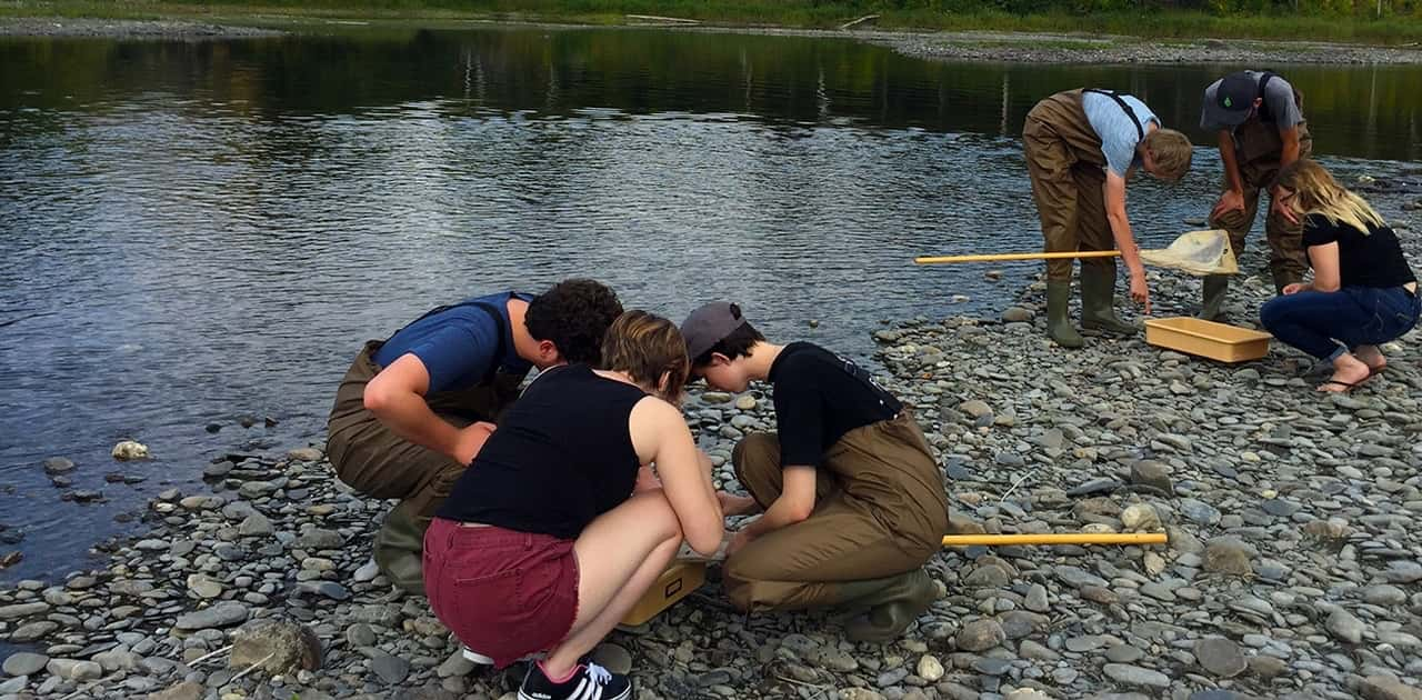 a group of students inspect specimens along the beach of Fish River